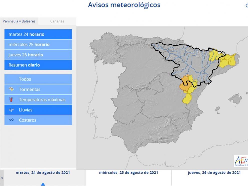 Alertan de posibles inundaciones por tormentas en el Bajo Aragón