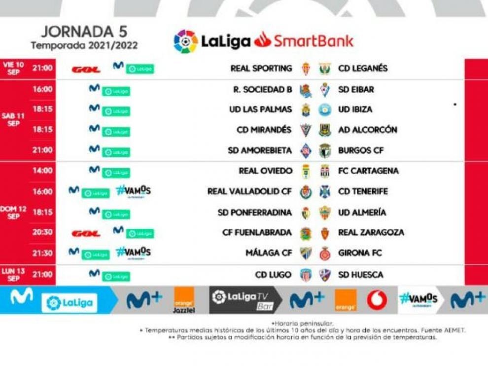 Horarios de la jornada 5 de Segunda División en el segundo fin de semana de septiembre.
