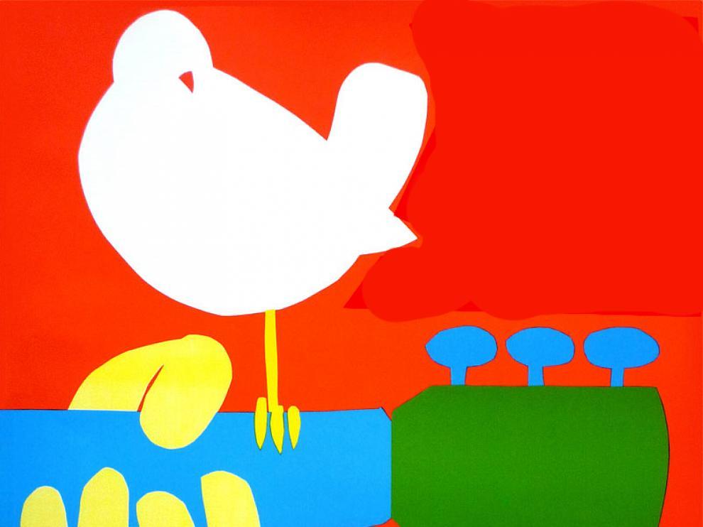 Una paloma y una guitarra: paz y música, los dos emblemas de Woodstock