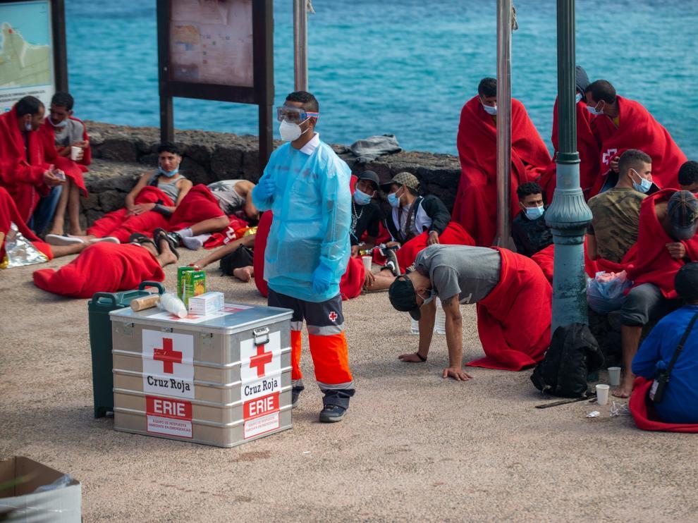 Llegada de inmigrantes en Patera a Lanzarote.