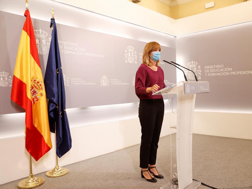 Pilar Alegría, ministra de Educación, en rueda de prensa