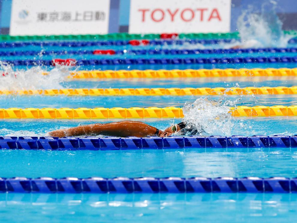 Teresa Perales durante su participación en los Juegos de Tokio.