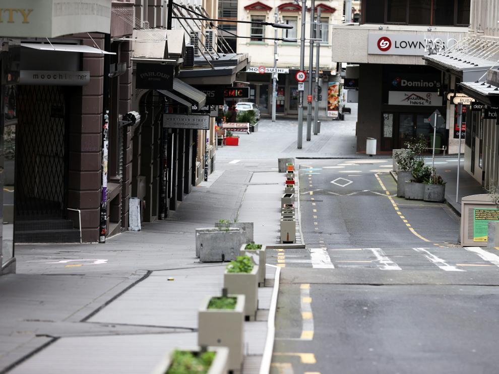 Una de las calles más bulliciosas de Auckland, vacía este jueves.