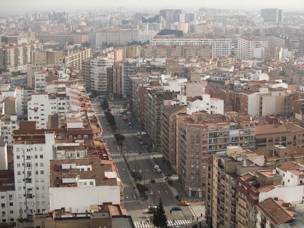 Vista panorámica desde la última planta del edificio de Torre Zaragoza.