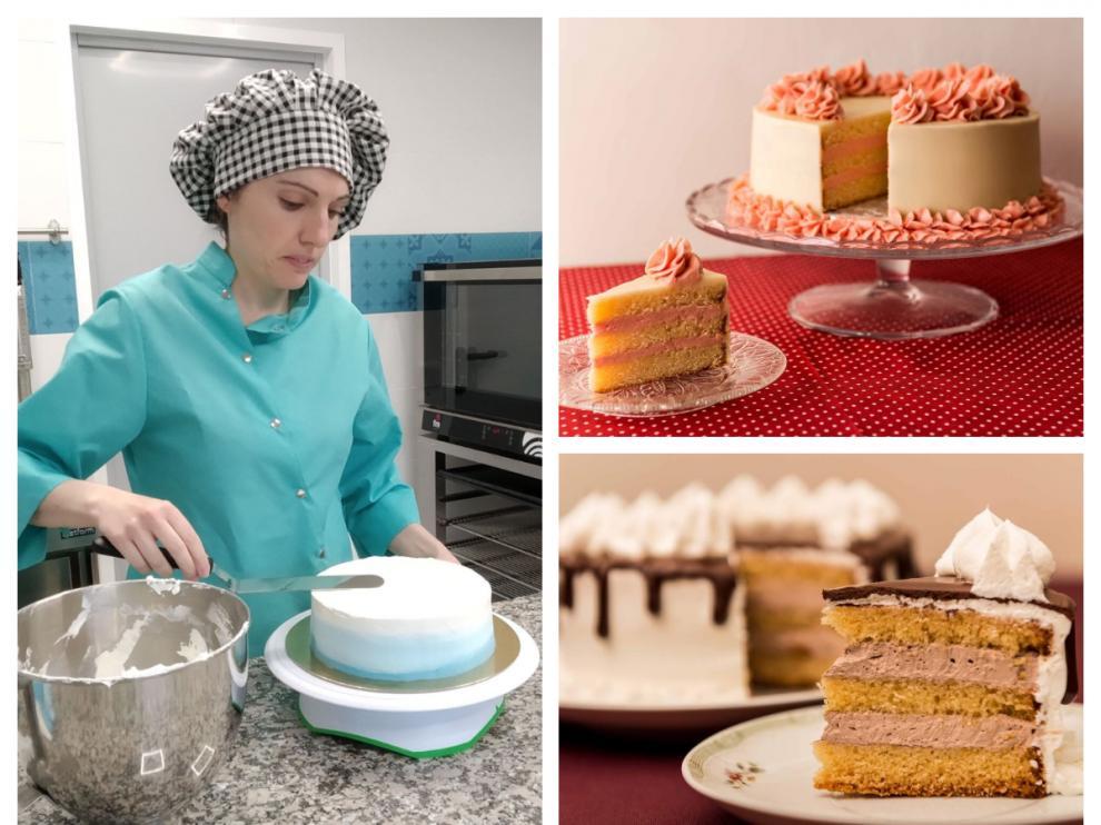 Lucía Usieto y algunas de sus tartas.