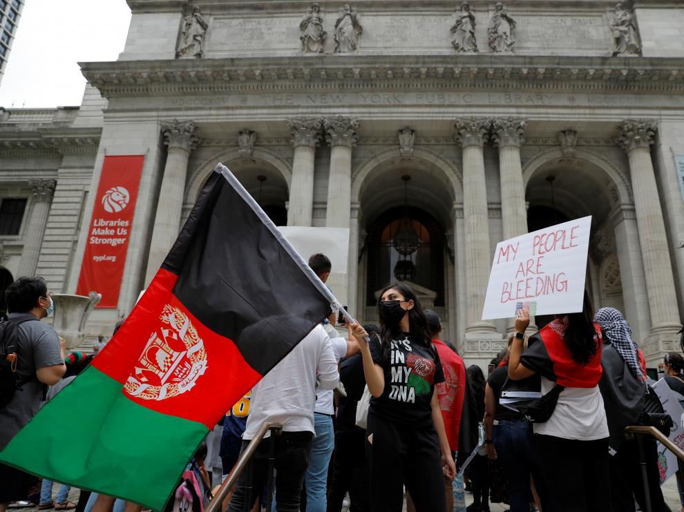 """Concentración en Nueva York al grito de """"Afganistán libre""""."""