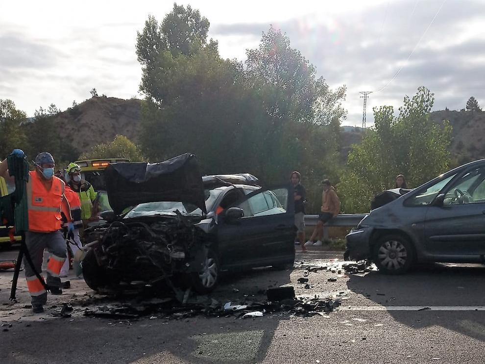 Dos de los vehículos implicados en el accidente.