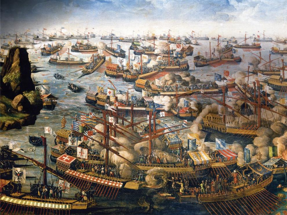 Un cuadro sobre la Batalla de Lepanto.
