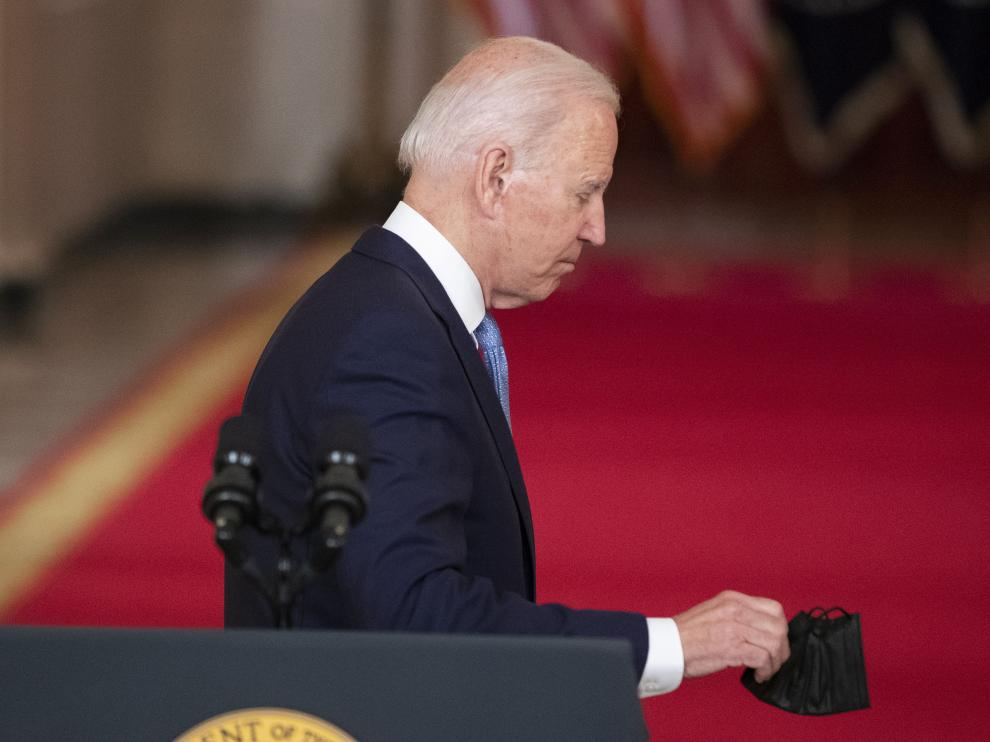 US President Joe Biden delivers remarks on the end of the war in Afghanistan