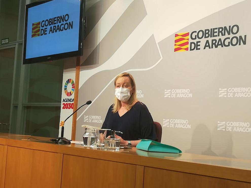 Marta Gastón, consejera de Economía del Gobierno aragonés, hoy al valorar los datos del paro.