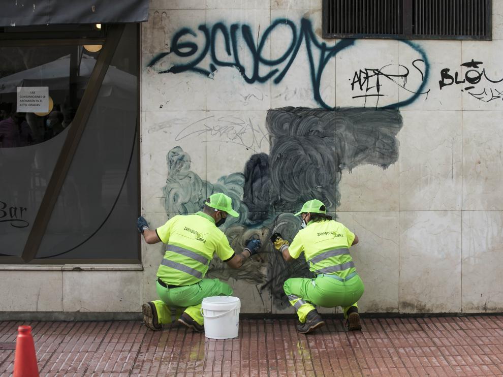 Plan de choque contra las pintadas vandálicas en Zaragoza