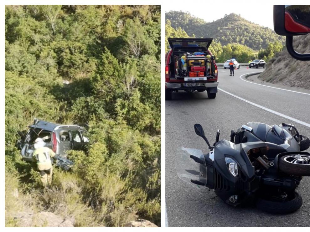 Los accidentes han ocurrido en las carreteras N-211 y A-1411