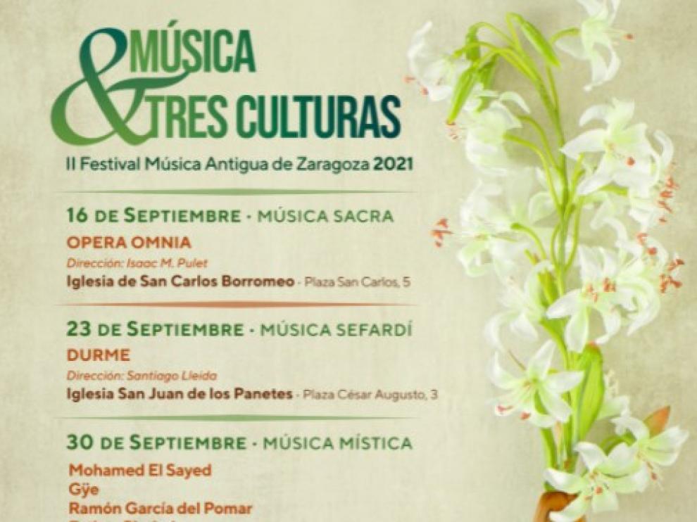 Cartel con los conciertos del Festival 'Tres Culturas'.