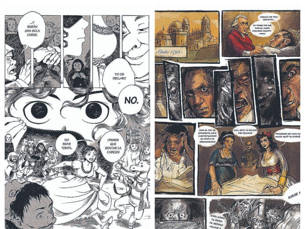 Izquierda a derecha, páginas de los cómics que han obtenido el primer y segundo premio