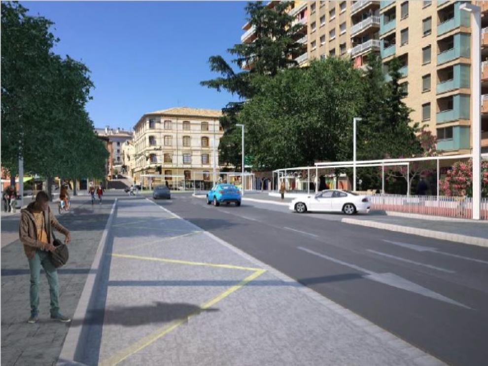 Recreación de cómo quedará el paseo Ramón y Cajal de Huesca tras la tercera fase de urbanización.