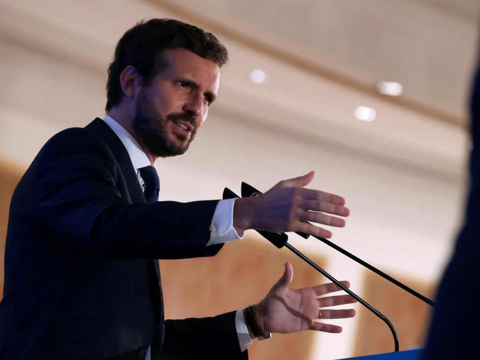 Desayuno informativo del Fórum Europa protagonizado por el líder del PP, Pablo Casado
