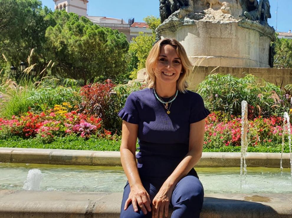 Patricia Ramírez, en la plaza de los Sitios de Zaragoza