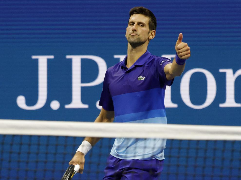 Novak Djokovic en el partido de este lunes en Estados Unidos.