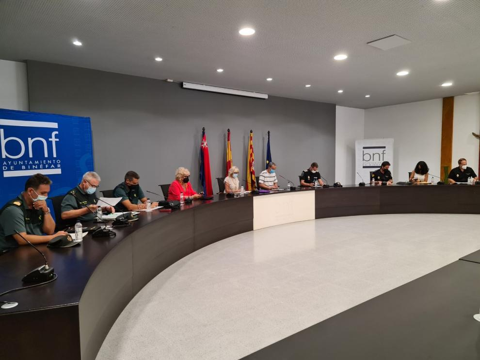 Reunión de la junta de seguridad celebrada este miércoles en Binéfar.