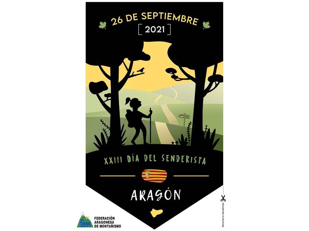 Banderín del XXIII Día del Senderista de Aragón, recórtalo y participa.