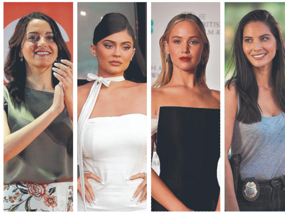 De izquierda a derecha, Inés Arrimadas, Kylie Jenner, Jennifer Lawrence y Olivia Munn.
