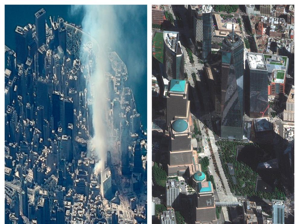 La zona donde se ubicaban las Torres Gemelas el día del atentado y en la actualidad