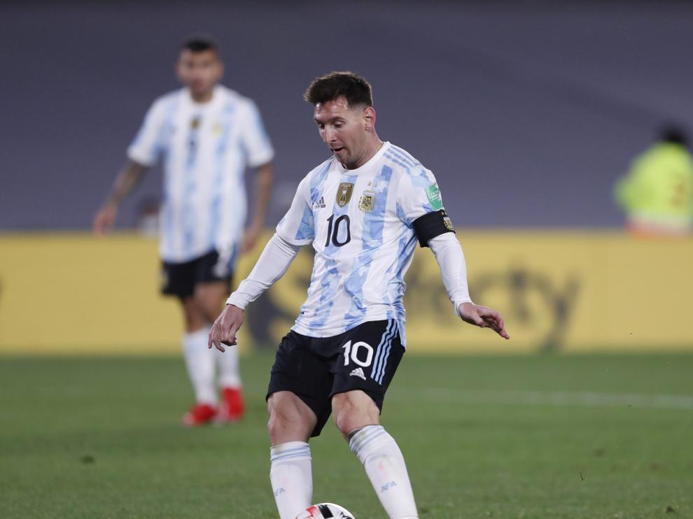 Messi, en el partido ante Bolivia, en el que marcó todos los goles del 0-3.