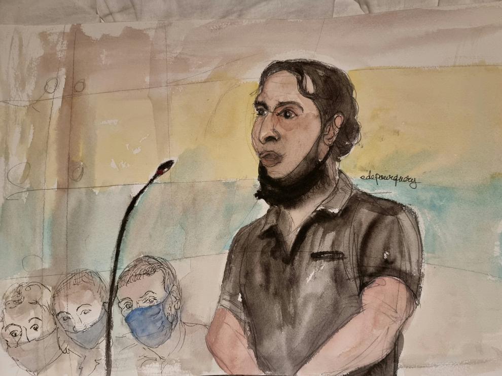 Dibujo de Salah Abdeslam juzgado como presunto autor del atentado de la sala Bataclan de París.