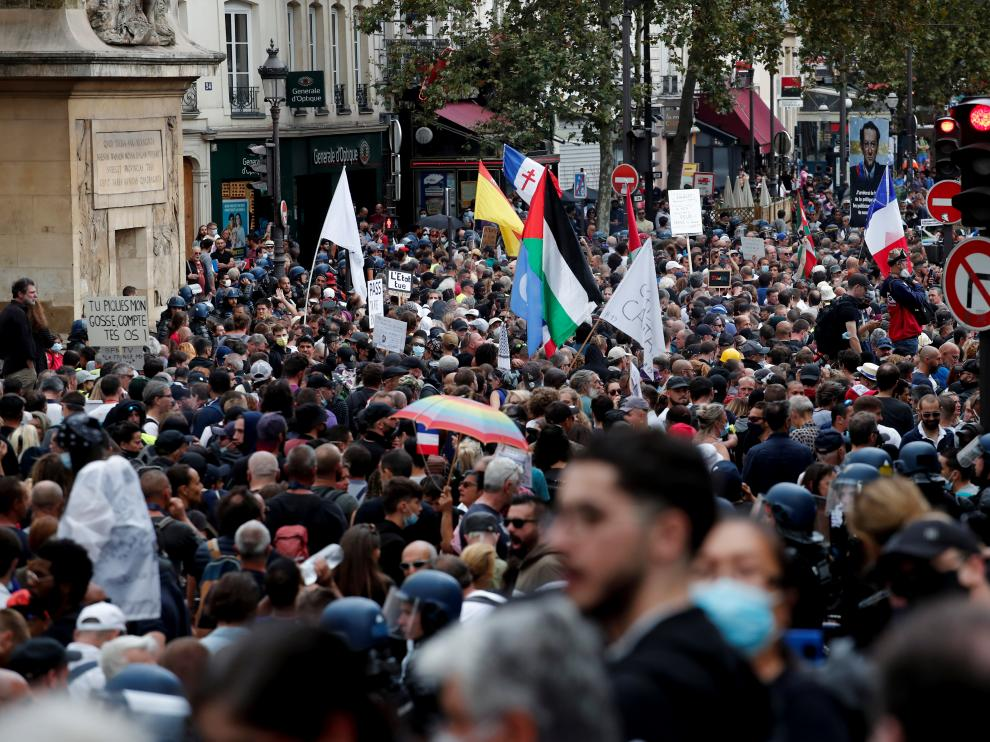 Protest against the use of health passes, in Paris