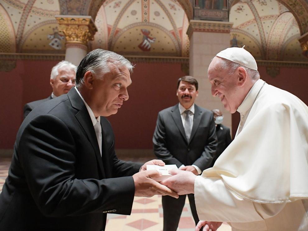El Papa, este domingo, en su encuentro con Orban.