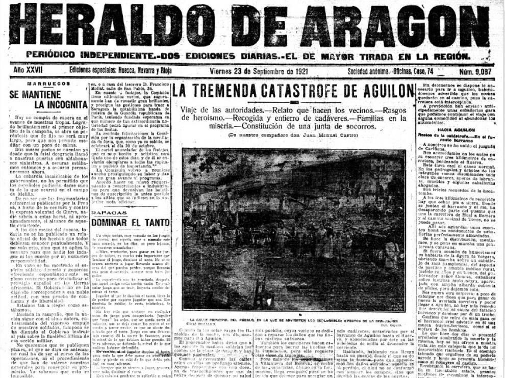 Así recogía HERALDO la notica de la catástrofe en su portada del 23 septiembre de 1921
