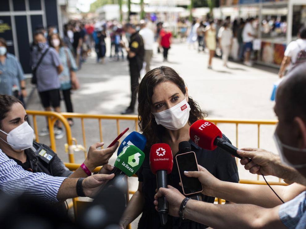 Isabel Díaz Ayuso, este lunes ante la prensa