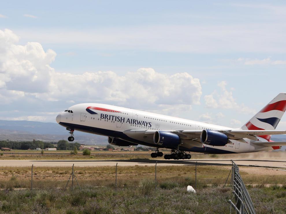 Un Airbus A380 de British Airways partió la semana pasada del aeropuerto de Teruel.