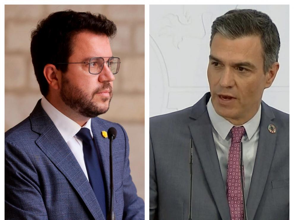 Combo de imágenes de Pere Aragonès y Pedro Sánchez