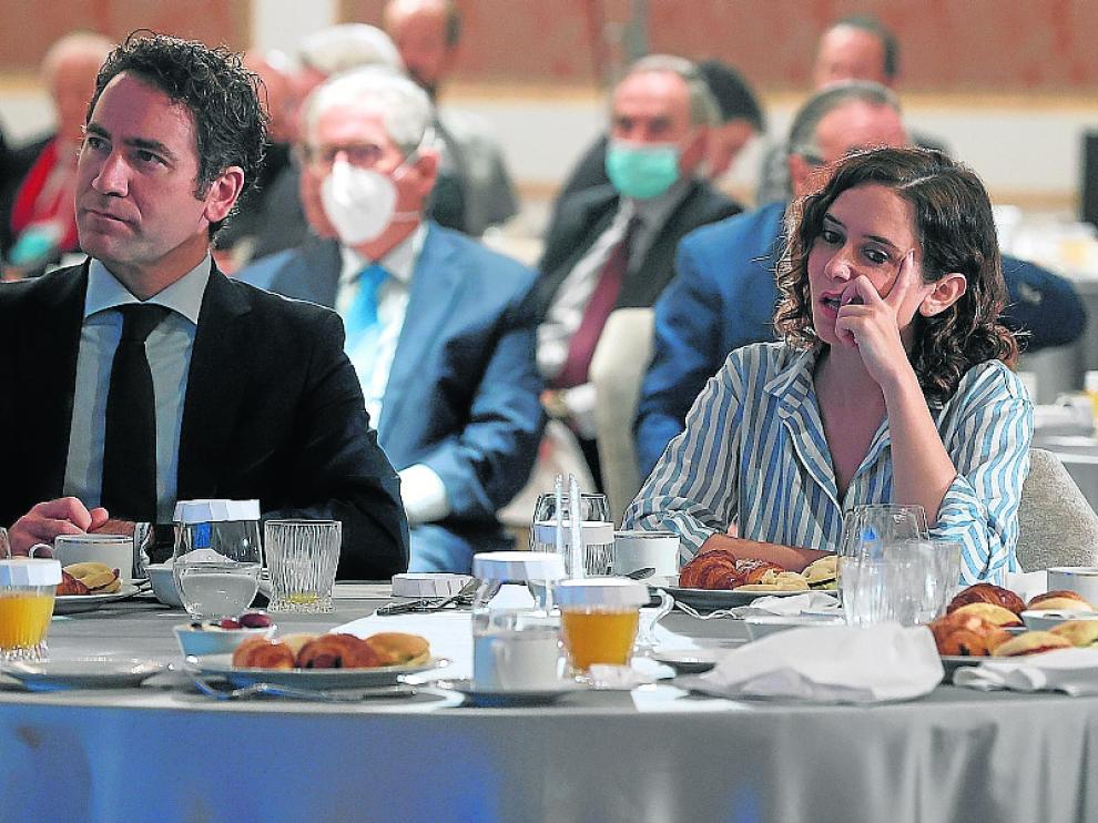 Egea, Ayuso y Almeida cuando Casado lanzó la candidatura del alcalde a presidir el PP de Madrid