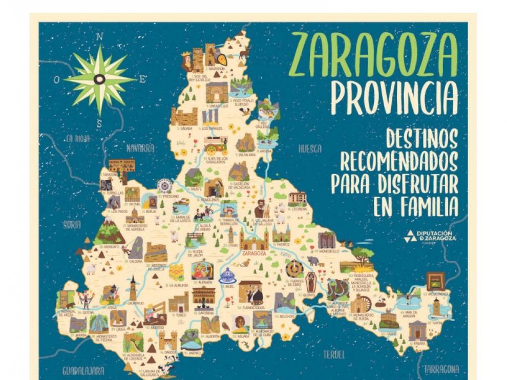 Mapa ilustrado de la DPZ para dar a conocer la provincia a los escolares.