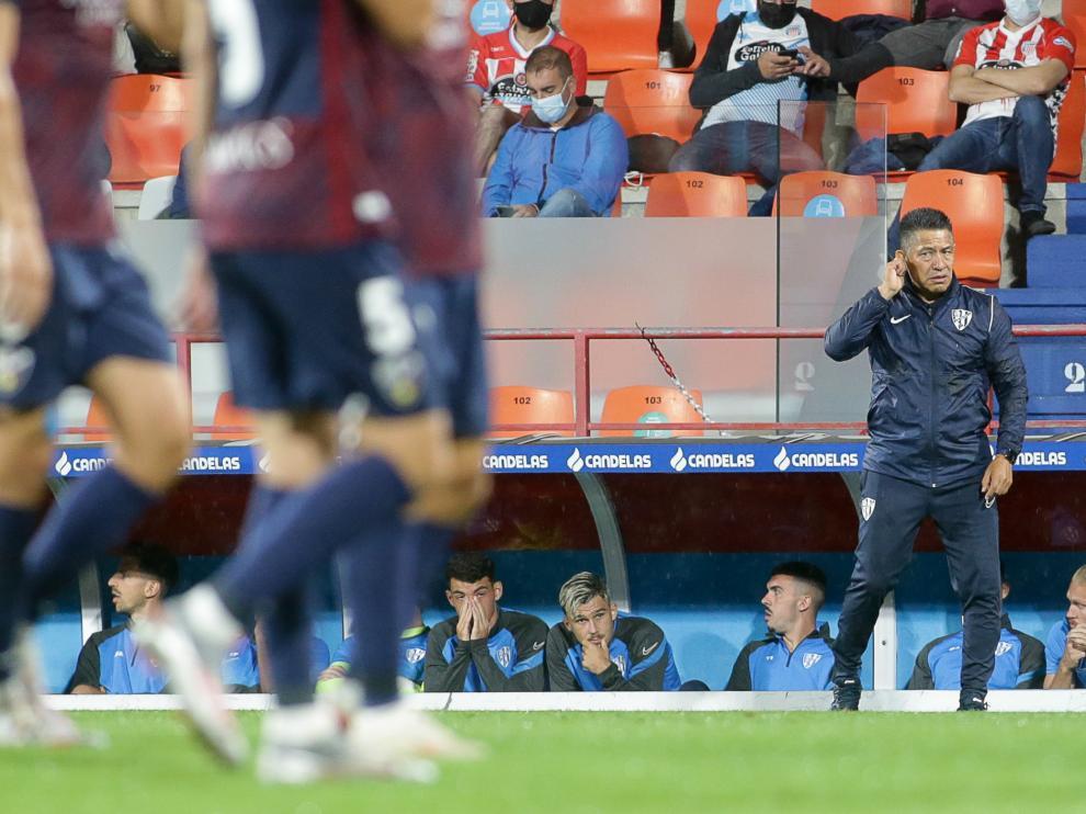Nacho Ambriz, durante la derrota frente al Lugo.