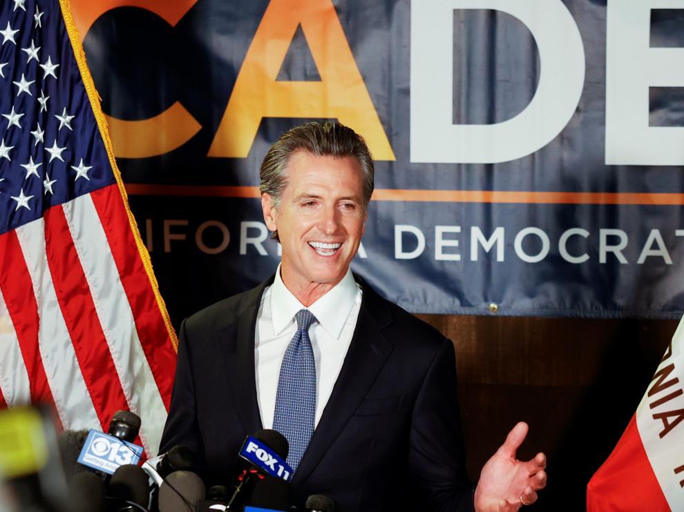Gavin Newsom agradece el apoyo de los votantes.