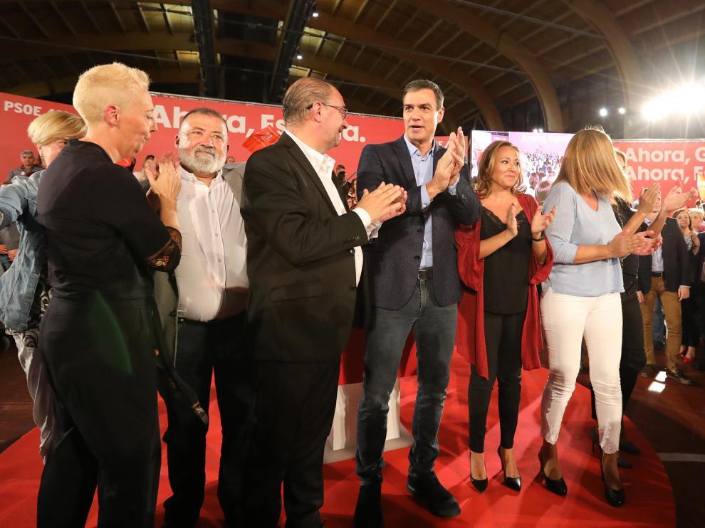 Lambán y Sánchez, en la última vez que estuvieron juntos en Aragón, en un acto de campaña electoral en Teruel en 2019.