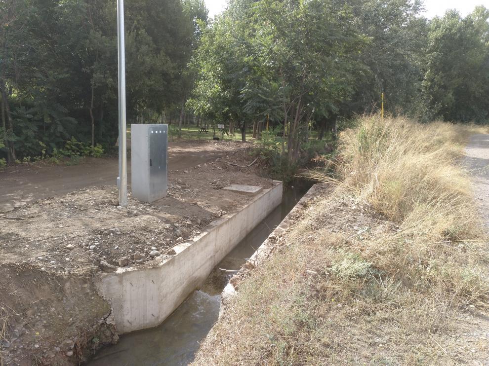 Uno de los puntos de control de este proyecto en el río Queiles.