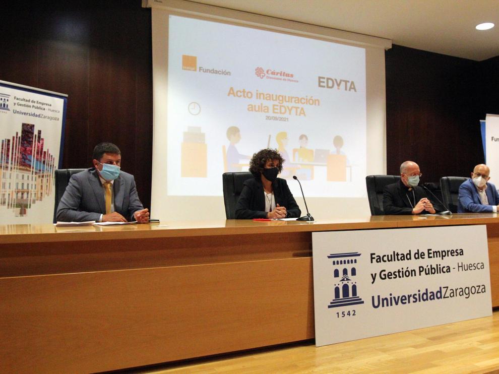 Acto de inauguración del curso Edyta en la Facultad de Empresa del campus de Huesca.