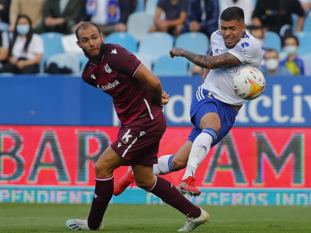 Narváez, en uno de sus disparos sin éxito ante la Real Sociedad B el pasado sábado.