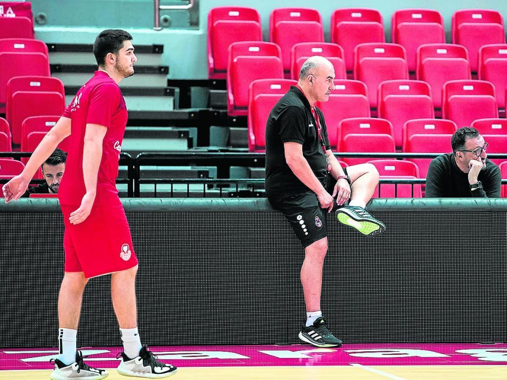 Javi García, Jaume Ponsarnau y Pep Cargol, en un entrenamiento de esta semana.