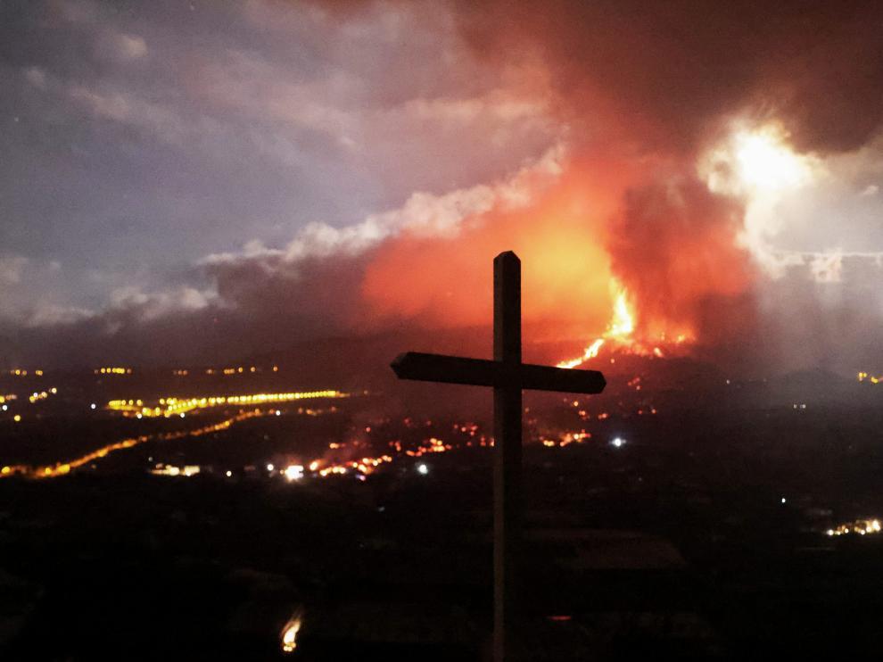 Vista general de la principal boca eruptiva del volcán de La Palma.