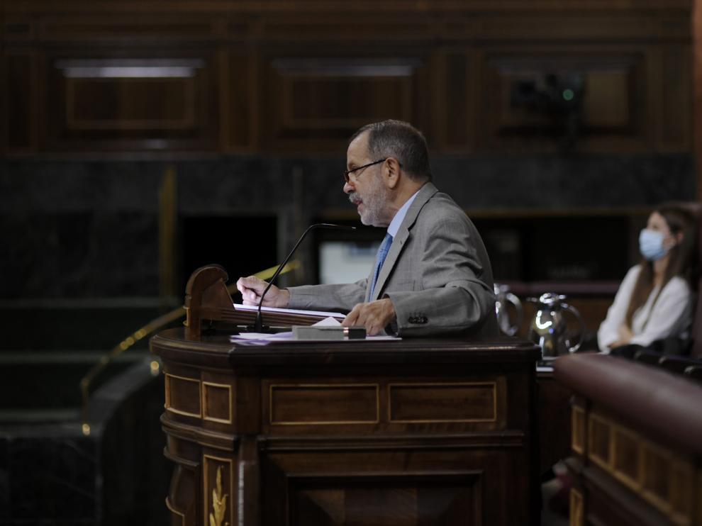 El Defensor del Pueblo, Francisco Fernández Marugán, interviene en una sesión plenaria en el Congreso de los Diputados,