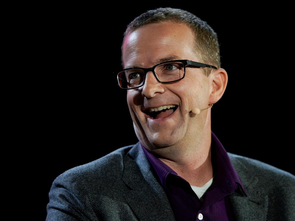 FILE PHOTO: Mike Schroepfer, Chief Technology Officer at Facebook speaks at the WSJTECH live conference in Laguna Beach, California
