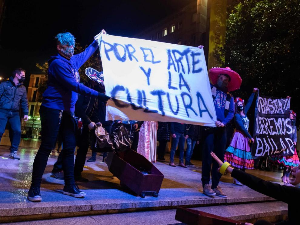 Manifestación en diciembre de 2020 para denunciar el abandono del sector cultural