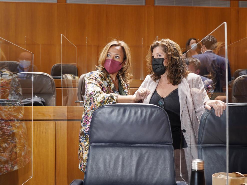 Mayte Pérez (izquierda), y la diputada Carmen Martínez, de CHA, ayer en el pleno