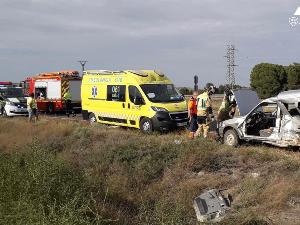 Accidente tras colisionar dos furgonetas en el término municipal de Bujaraloz.