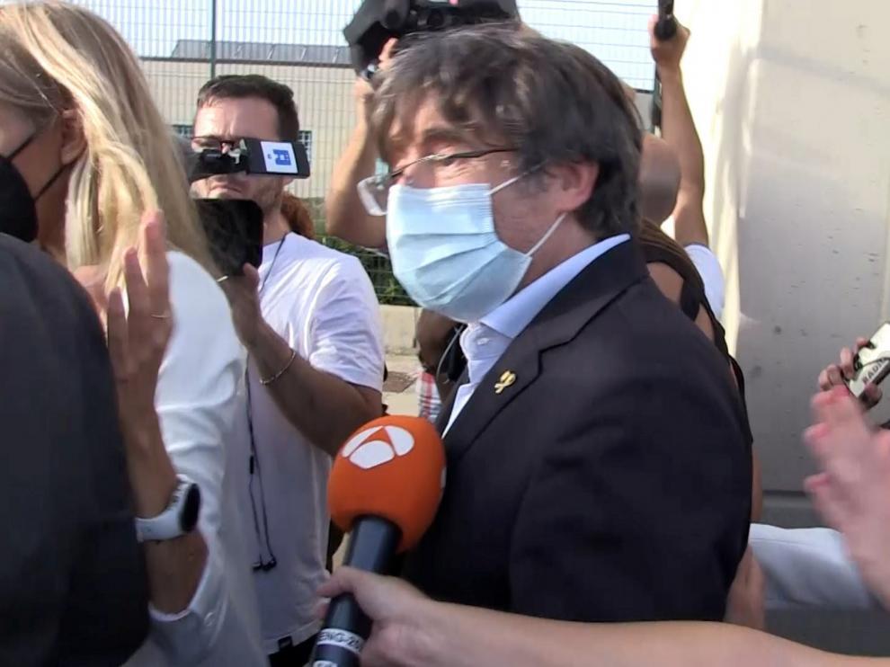 Puigdemont, tras salir de la cárcel, este viernes.